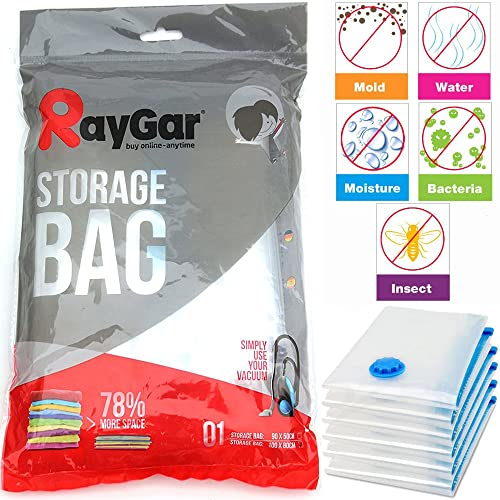 RayGar 6 Bags Pack Vacuum Compressed Storage Saving Bags 100 X 80 cm Clothing, Duvets, Bedding, Pillows, Curtains, Travelling - New
