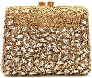 ZXK Ladies Dinner Bag/Square High-end Handmade Women's Bag/Silver Shoulder Diagonal Bag Fashion (Color : Gold)