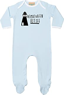 Kleckerliese Baby Kinder Schlafanzug Strampler Langarm Einteiler Motiv Heimathafen Nordsee Leuchtturm