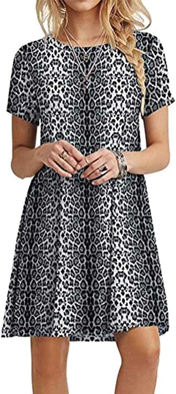 KYLEON Women's Dress Sunflower Casual Summer Cold Shoulder Swing Mini T-Shirt Dress Loose Beach Short Sundress with Pockets
