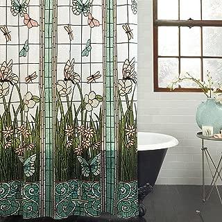 Crystal Emotion Flower Dragonfly Waterproof Bathroom Fabric Shower Curtain Bath Curtain 48x72inch Small Stall Size