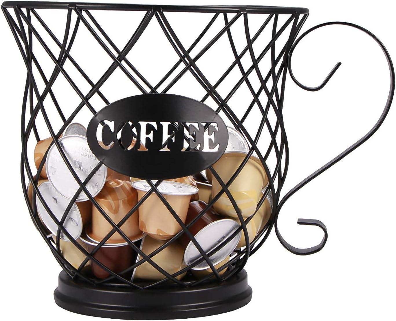 Almacenamiento de cocina YChoice365 Soporte para c/ápsulas de caf/é Organizador de c/ápsulas de caf/é vintage Canasta de almacenamiento de caf/é Soporte para c/ápsulas de caf/é con asa Universal