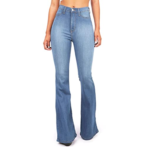 fff62d54a7e chimikeey Womens Juniors Flared High Waisted Bell Bottom Fitted Denim Jeans  Jeggings