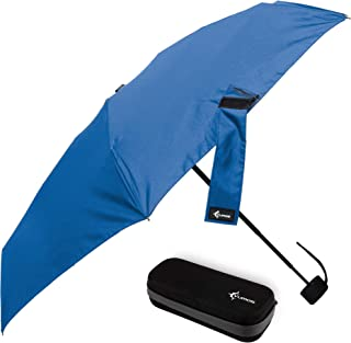 Travel Umbrella with Waterproof Case - Small and Compact for Backpack or Purse. Great Umbrella for Women, Men or Kids, Blue (Blue) - VumosTravelUmbrella-Blue