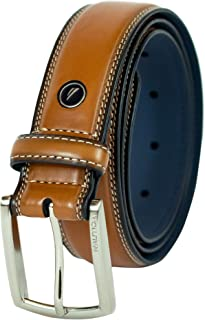 Nautica Men's Belt with Dress Buckle and Stitch Comfort