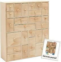 HYGGEHAUS Wooden Storage Organizer with Drawers - Craft Storage   Teacher Toolbox   Desktop Organizer   Apothecary Cabinet   DIY Advent Calendar   24 Drawer. Unfinished Wood. 12.5in x 14.5in x 4in