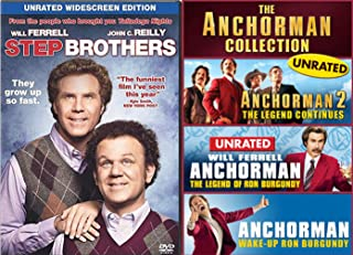 Wake Up Ron Burgundy Special Anchorman 1 DVD & Part 2 Legend & Saga Continues more Footage News Channel 4 Collection + Step Brothers Will Ferrell Comedy Set