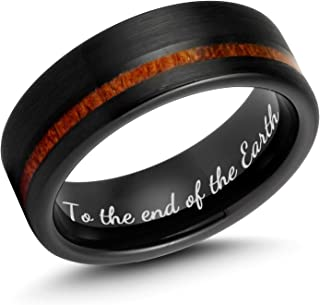 Ulan Moron Men`s Rings 8mm Black Tungsten Carbide Wood Ring Outside Matte Brushed with Wooden Texture Inlay Free Personalized Custom Name Engrave Supported Comfort Fit Wedding Band