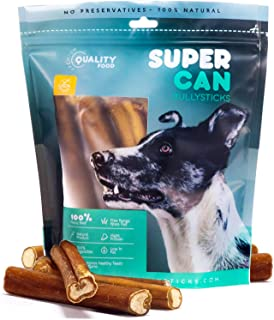 Natural 6-inch Odor Free Thick Bully Sticks for Dogs (10-Pack) - High Protein Thick Beef Sticks Dog Treats - 100% Natural ...