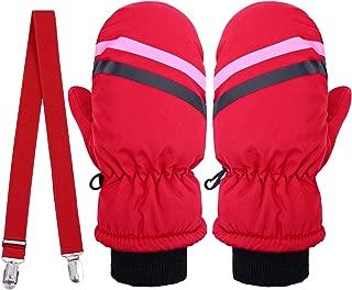 Cooraby Kids Winter Snow Mittens Waterproof Warm Ski Mittens with Adjustable Mitten Clip
