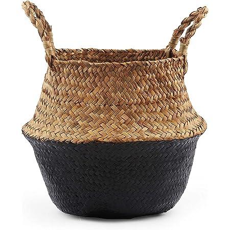 Goodchanceuk Panier tressé en jonc de mer fait à la main, panier de rangement, panier à linge, décoration d'intérieur, pot de fleurs, panier de jardin, 36 x 32 cm, noir et naturel