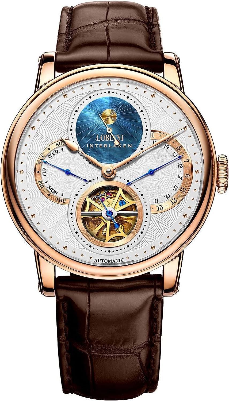 Lobinni Reloj de vestir analógico de lujo automático automático de la marca de lujo del calendario de los hombres de acero inoxidable