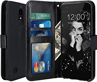LK Case for LG K20 V, LG K20 Plus, LG Harmony, LV V5, LG K10 2017, Luxury PU Leather Wallet Flip Protective Case Cover with Card Slots and Stand (Black)