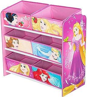 PEGANE Meuble de Rangement Enfant avec 6 bacs Motif Disney Princesses - Dim : H60 x L63,5 x P30 cm