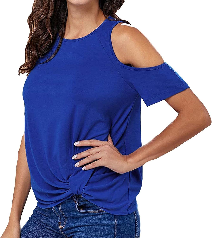 Womens Knik Tops Summer Regular dealer [Alternative dealer] Cold Shoulder Solid Sh Casual Color
