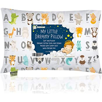 Toddler Pillow with Pillowcase - 13X18 Soft Organic Cotton Baby Pillows for Sleeping - Machine Washable - Toddlers, Kids, Infant - Perfect for Travel, Toddler Cot, Bed Set (KeaABC)