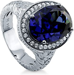 BERRICLE Rhodium Plated Sterling Silver Simulated Blue Sapphire Oval Cut Cubic Zirconia CZ Statement Halo Art Deco Cocktail Fashion Right Hand Ring