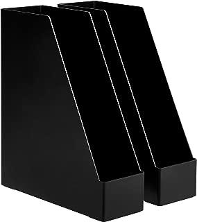 AmazonBasics Plastic Desk Organizer - Magazine Rack, Black, 2-Pack