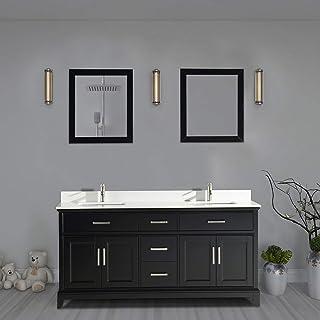 Vanity Art 72 Inch Double Sink Bathroom Vanity Set Super White Phoenix Stone Top Soft Closing Doors Under-Mount Rectangle Sinks with Free Mirrors VA1072-DE