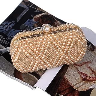 Redland Art Women's Fashion Mini Pearl Beaded Clutch Bag Wristlet Evening Handbag Shoulder Crossbody Bag Catching Purse for Wedding Party (Color : Champagne)