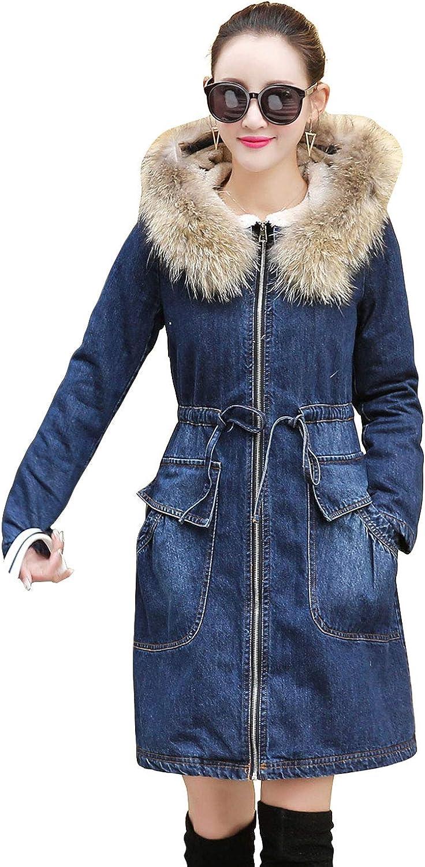 ebossy Women's Winter Full Zip Sherpa Lined Parka Coat Fur Hooded Long Denim Jacket