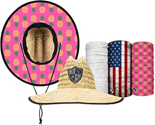 Straw Hat Pack - Pink Pineapple Under Brim Straw Hat for Men and Straw Hat for Women - UPF 50+ Sun Hats and 3 Face Shields