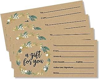 50 4x9 Kraft Gift Certificate Cards Vouchers for Holiday, Christmas, Birthday Holder, Small Business, Restaurant, Spa Beauty Makeup Hair Salon, Wedding Bridal, Baby Shower Cash Money