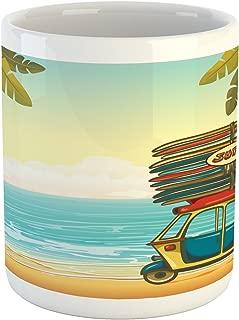 Lunarable Beach Mug, Auto Rickshaw Tuk-Tuk Carrying Colorful Surfboards on Tropical Coast with Palm Trees, Printed Ceramic Coffee Mug Water Tea Drinks Cup, Multicolor