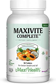 Maxi Health MAXIVITE Complete - Multivitamin & Mineral - with Iron - One a Day - 90 Tablets - Kosher
