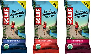 Clif Fruit Smoothie Filled - Organic Energy Bar - 3-Flavor Variety Pack - 1.76 Ounce Protein Snack Bar, 12 Count