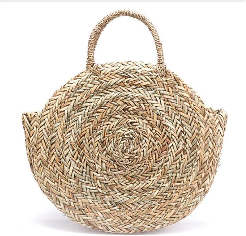 Ladies Handbag New Natural HandWoven Big Straw Bag Round Popularity Straw Women Shoulder Bag Beach Holiday Bag Ladies Tote Large Handbag (color   , Size   ) (color   , Size   )