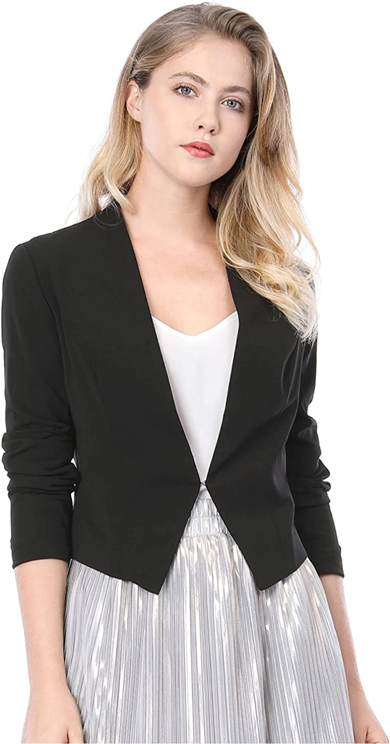 Allegra K Women's Collarless Work Office Business Casual Cropped