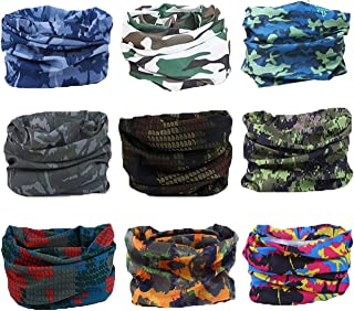 KINGREE 9PCS Headbands, Outdoor Multifunctional Headwear, Sports Magic Scarf, High Elastic Headband with UV Resistance, Athletic Headwrap, Mens Sweatband, Womens Hairband