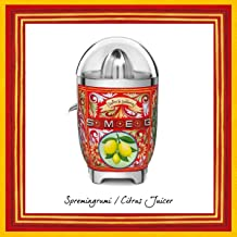 Smeg CJF01DGUK, Dolce & Gabbana Citrus Juicer with Juicing Bowl and Lid, Sicily is my Love Style, Anti-Drip Stainless Stee...