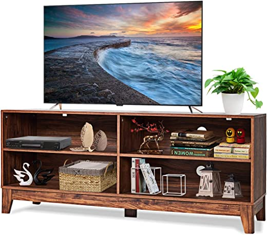 TV & Media Furniture ✅Tangkula TV Stand, Modern Design Wooden Storage Console Entertainment Center for TV up to 60″, Home Living Room Furniture with 4 Open Storage Shelves, Television Stands (Brown)
