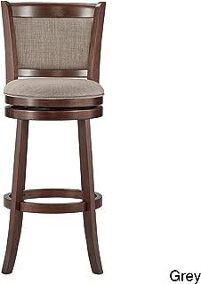 Inspire Q Verona Panel Back Linen Swivel 29-inch High Back Bar Stool by Classic - N/A Grey Linen Cherry Finish, Wood Finish