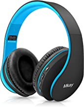 Bluetooth Headphones Wireless,MKay Over Ear Headset V5.0 with Microphone, Foldable & Lightweight, Support Tf Card MP3 Mode and Fm Radio for Cellphones Laptop TV(Black-Blue)