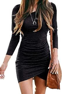BTFBM Women Fashion Ruched Elegant Bodycon Long Sleeve Front Drawstring Solid Color Casual Basic Short Dress