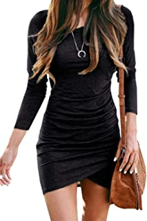 Women Fashion Ruched Elegant Bodycon Long Sleeve Wrap...