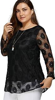 SODIAL Women Plus Size Blouses Casual Loose Long Sleeve Lace Hollow Out Women Tops T-shirt,Black L