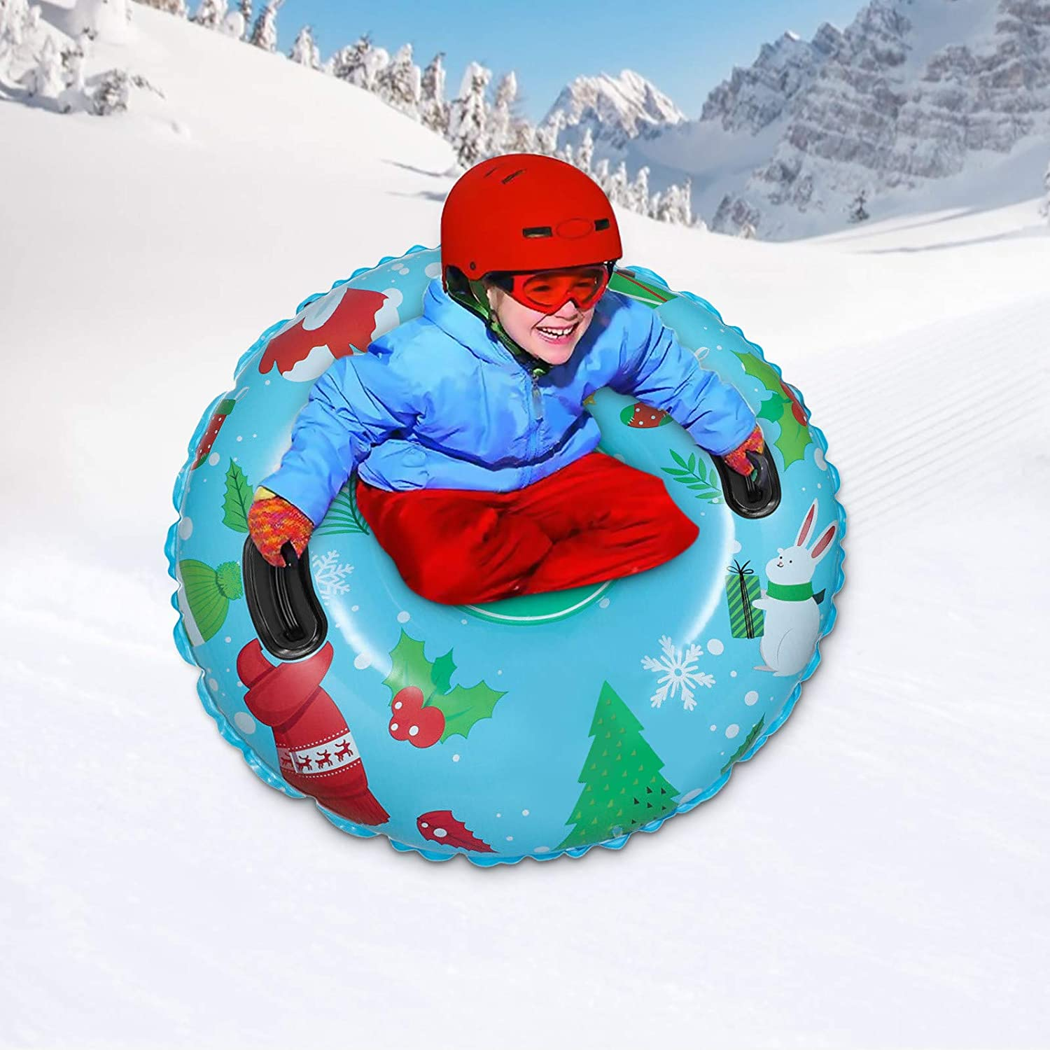 PHUNAPY Extra Large 47 Inch Snow Tube Sled for Kids and Adults,The Winter Inflatable Snow Tube,Great Inflatable Snow Tubes for Winter Fun and Family Activities