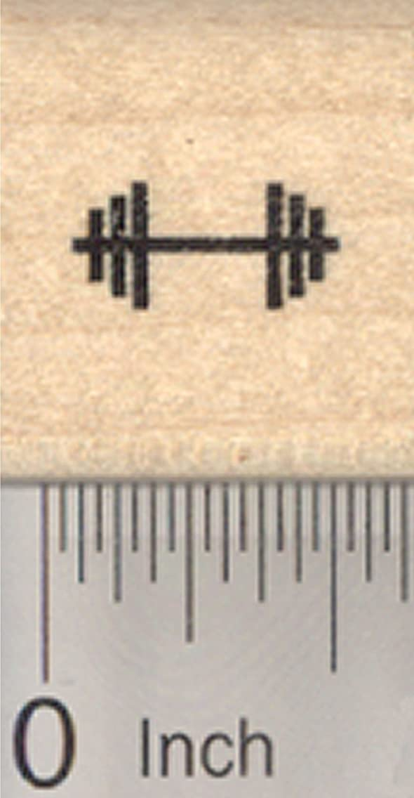 Tiny Barbell Rubber Stamp, .5 inch long, Mark Your Calendar or Activity Log