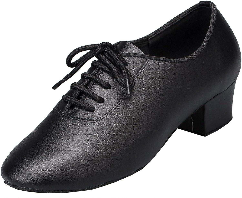 TDA Womens Round Toe Lace-up Leather Latin Modern Salsa Tango Ballroom Wedding Dance shoes