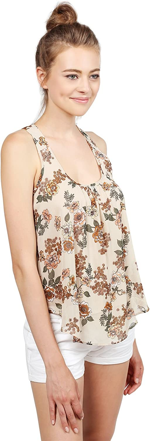 MBE Women's Cute Floral Scoop Neck Back Details Cami Tank