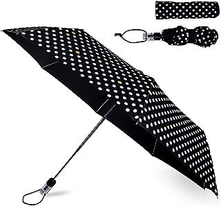 Black/White Travel Umbrella, Lightweight Compact Umbrella with Storage Sleeve, Polka Dots