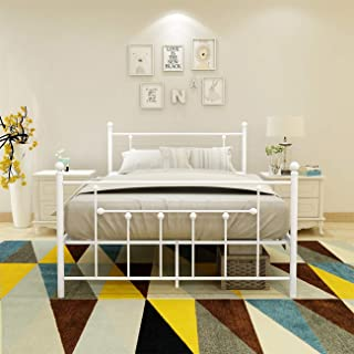 WJORATA Metal Bed Frame Full Size Platform No Box Spring Needed with Vintage Headboard and Footboard Premium Steel Slat Support Mattress Foundation White