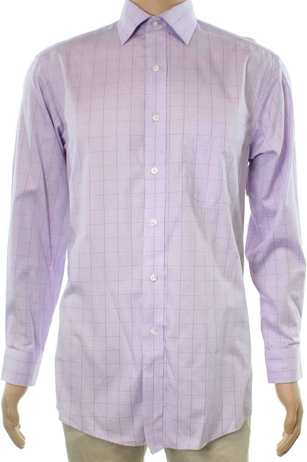 Spring new work one after another Club Room Men's Wrinkle Resistant Courier shipping free shipping Shirt Glenplaid Dress Lavender