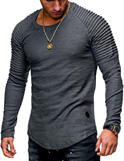 FSSE Men's Casual Solid Color Slim Crewneck Long Sleeve Ruched T-Shirt Tee
