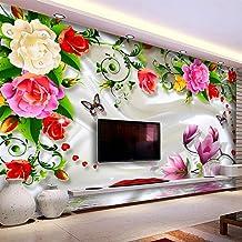 SUNNYBZ Mural De Papel Tapiz Fotográfico 3D Flores Plantas Mariposas Moda 260X175 Cm Papel Tapiz 3D Decoración Del Hogar P...