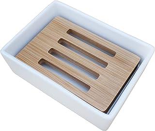 Lofekeaセラミックソープディッシュ竹石鹸石鹸ホルダー浴室とシャワーの二重層排水ソープボックス